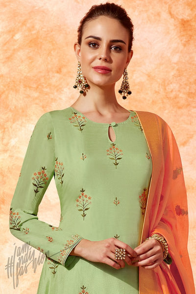 Green and Orange Dola Silk Palazzo Suit