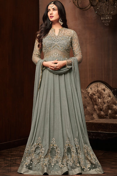 Gray Pure Crepe Party Wear Floor Length Suit