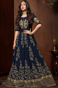 Navy Blue Pure Georgette Party Wear Floor Length Suit