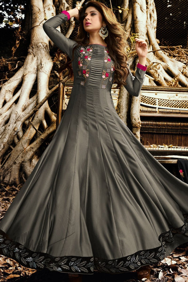 Gray and Black Satin Silk Floor Length Party Wear Suit