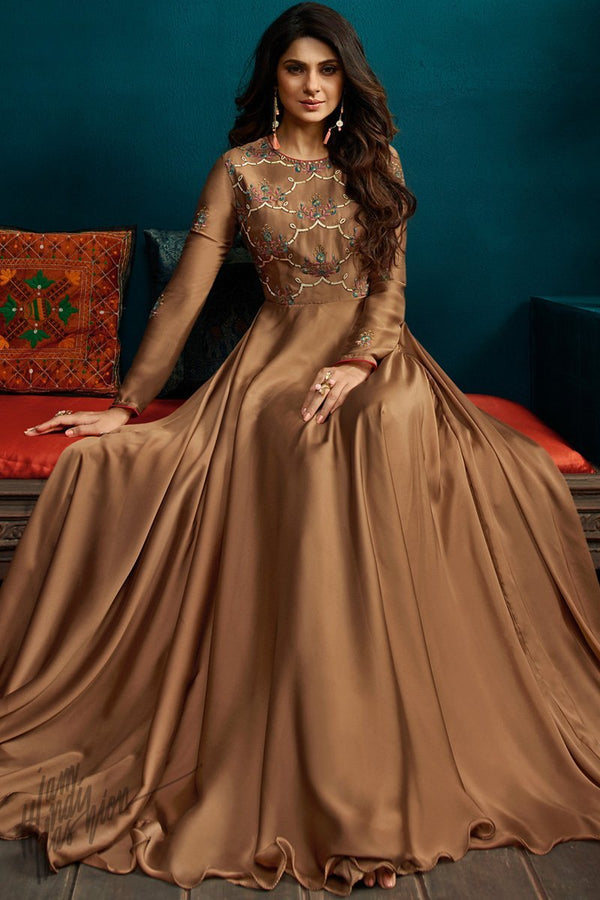 Brown Georgette and Silk Length Gown