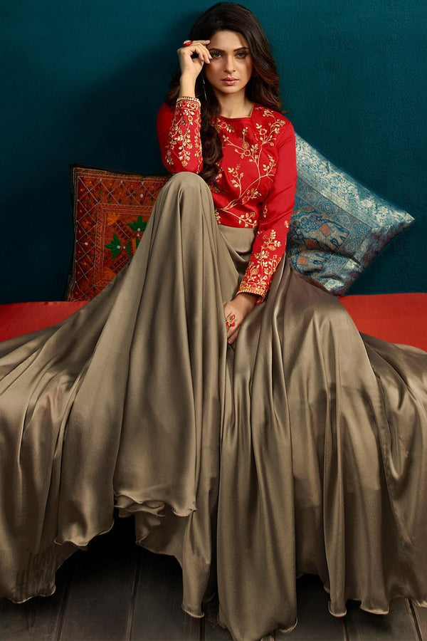 Red and Coffee Brown Georgette and Silk Length Gown