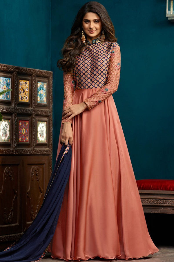 Peach Banarasi jacquard Georgette and Silk Length Gown