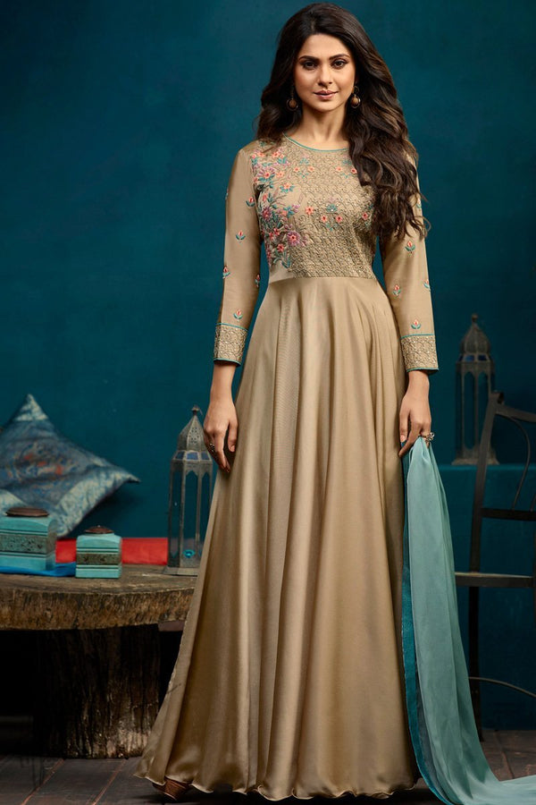 Beige Georgette and Silk Length Gown