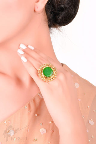 Green Kundan Freesize Ring by Parchi Design Studio