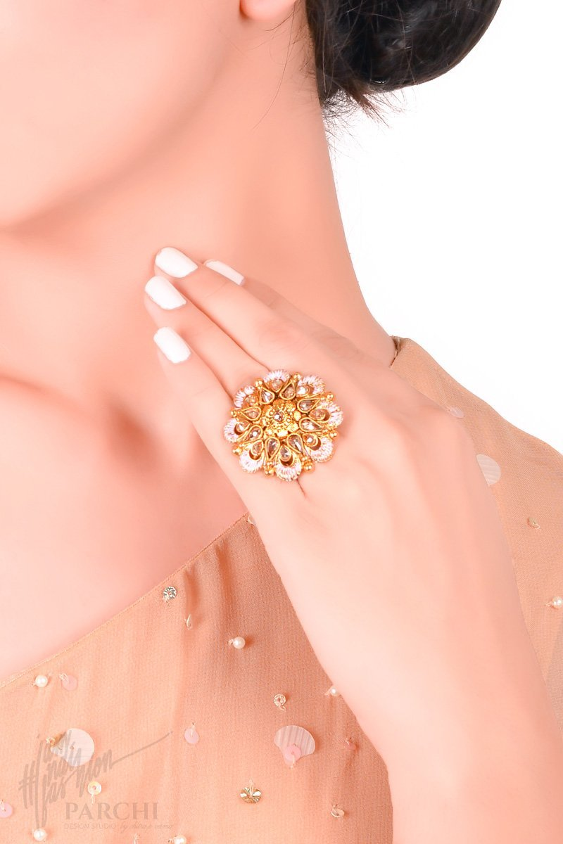 Golden and Pink Floral Freesize Ring by Parchi Design Studio
