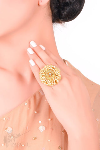 Golden Tiny Pearl Freesize Ring by Parchi Design Studio