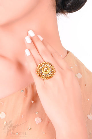 Golden Kundan Floral Freesize Ring by Parchi Design Studio