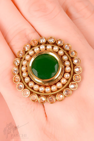Green Kundan and Pearl Freesize Ring by Parchi Design Studio