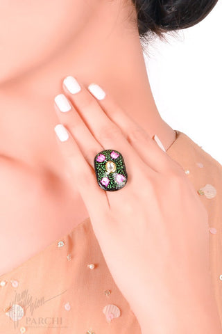 Black Kundan Hand Painted Freesize Ring by Parchi Design Studio