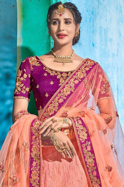 Onion Pink and Purple Silk Lehenga Set