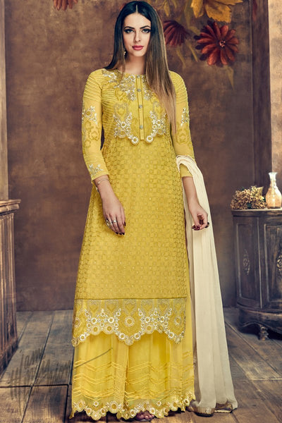 Buy Yellow Heavy Net Party Wear Suit online at indi.fashion