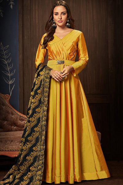 Fanta Yellow and Black Taffeta Silk Gown