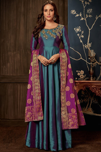 Slate Blue and Magenta Dual Tone Taffeta Silk Gown