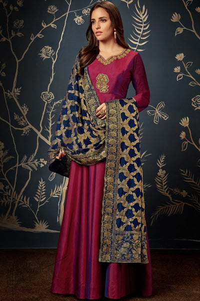 Burgundy and Blue Taffeta Silk Gown