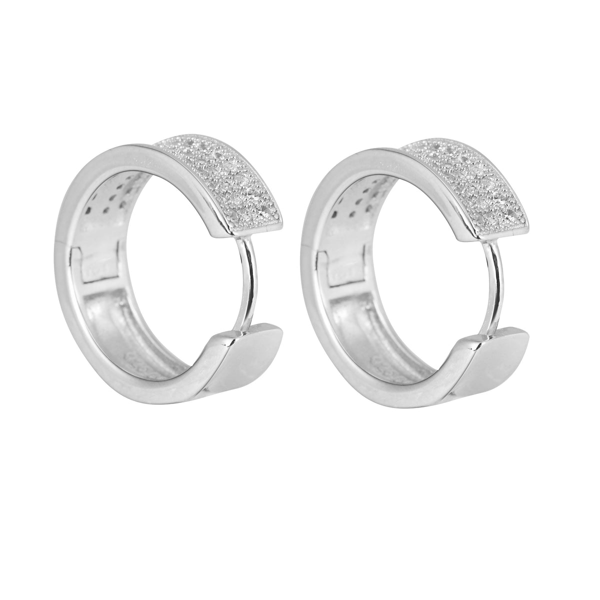 .925 Sterling Silver Hoop 3-Row Earrings