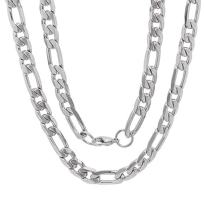 14K Silver Plated Diamond Cut Figaro Chain