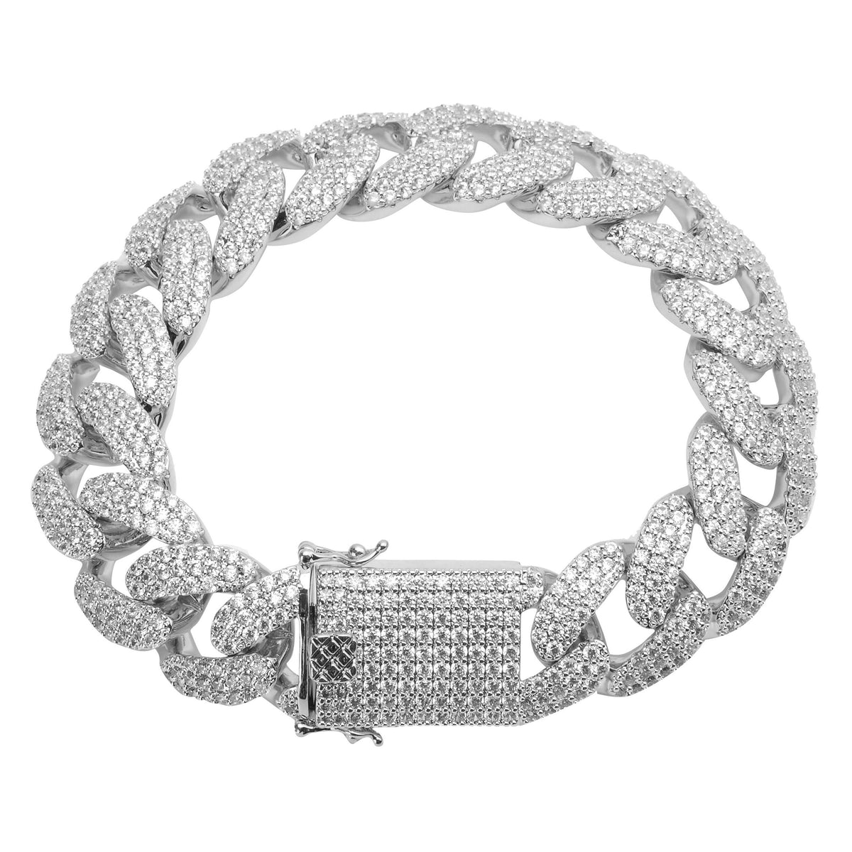 13MM CURVED DIAMOND CUBAN LINK BRACELET