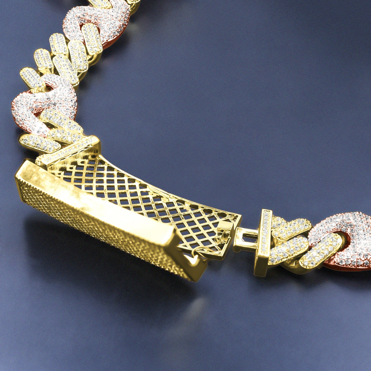 18mm Yellow & Rose Gold Gucci-Cuban Chain
