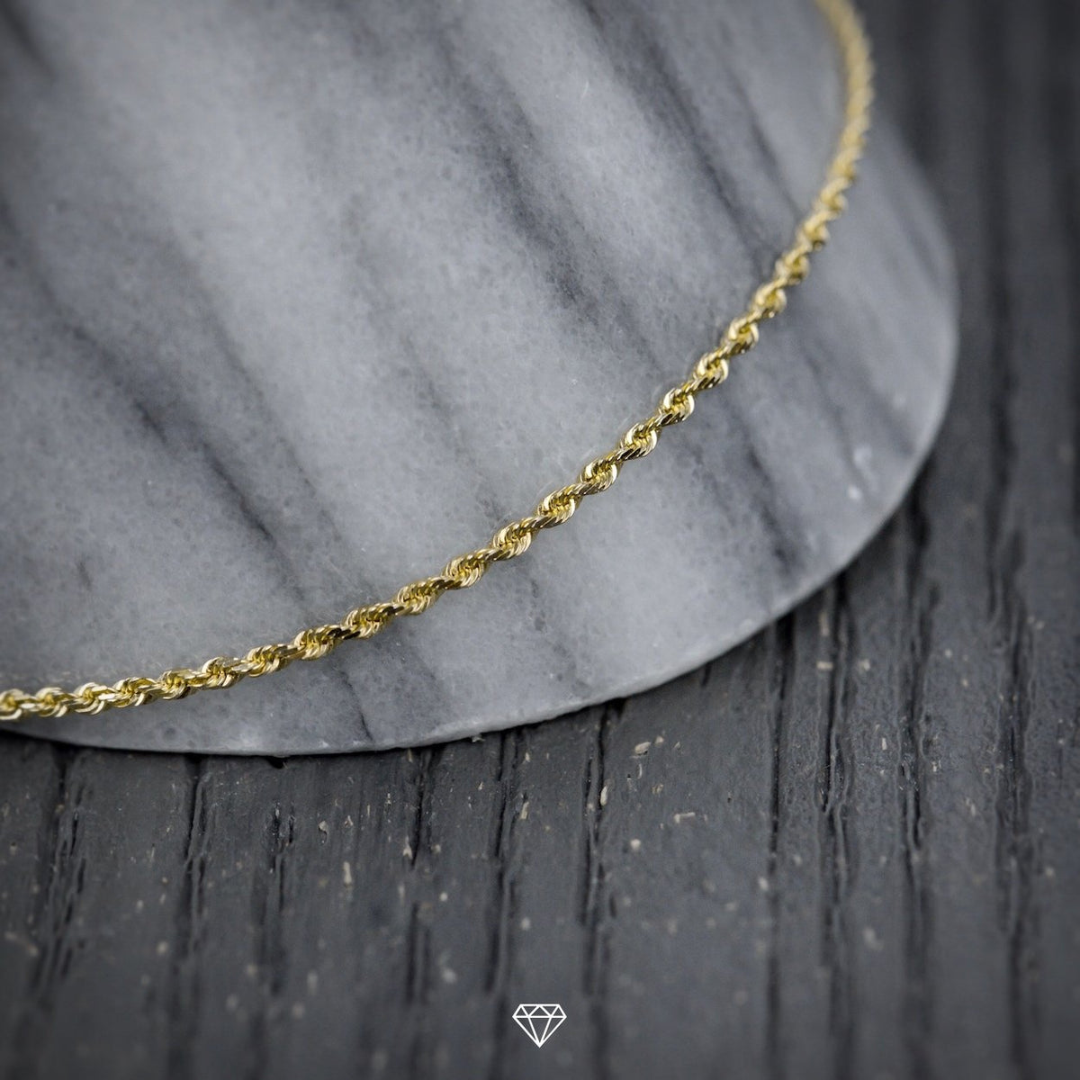 SOLID GOLD DIAMOND-CUT ROPE CHAIN