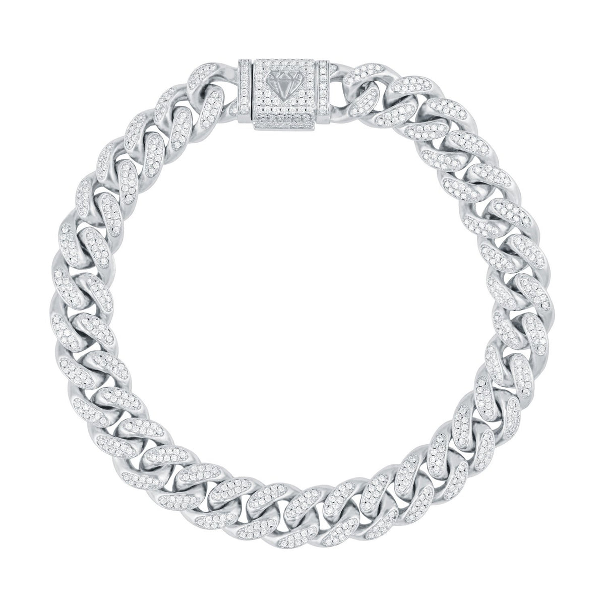 13MM CURVED DIAMOND CUBAN BRACELET IN WHITE GOLD