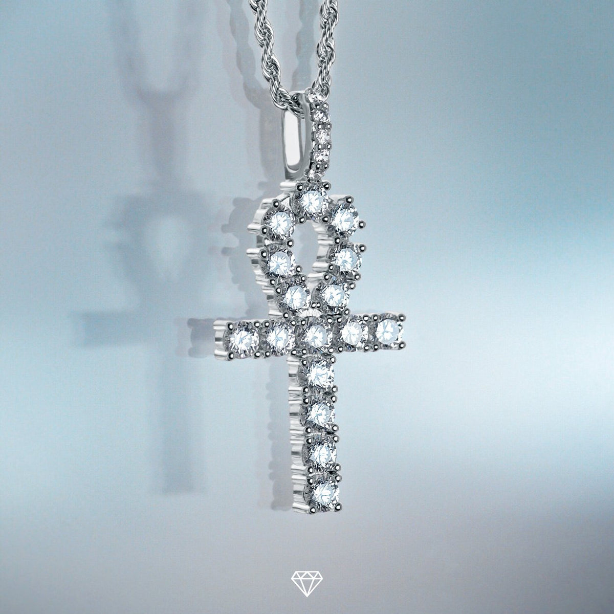 DIAMOND ANKH PENDANT IN WHITE GOLD