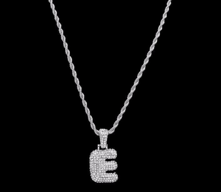 14K White Gold Single Bubble Letter Pendants