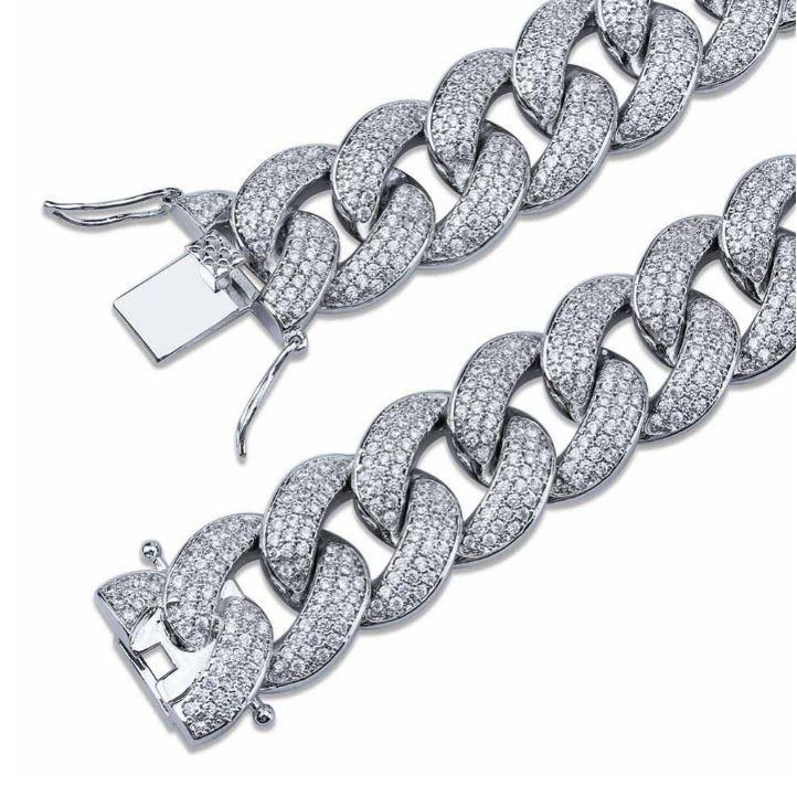 12mm White Gold Cuban Chain