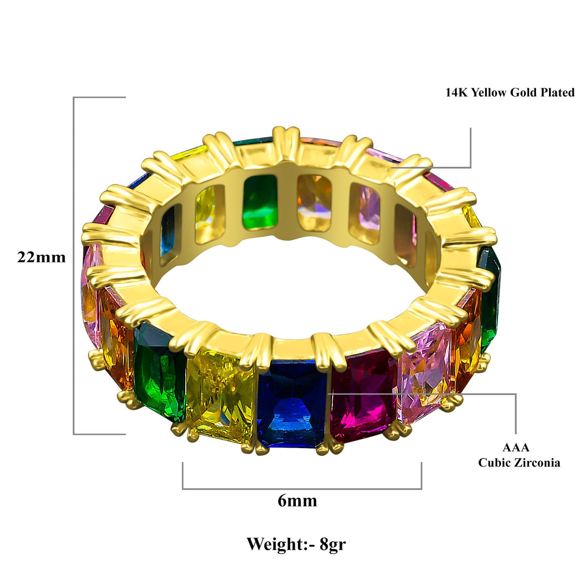 14K Yellow Gold Emerald Spectrum Ring