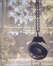 Load image into Gallery viewer, Glass Globe Necklace with Black and Green Feather