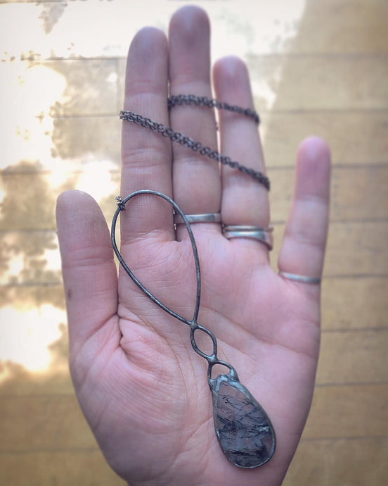 Black Rutile Quartz & Wire Necklace