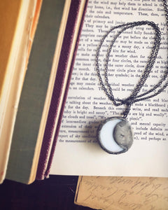 Fern on White With Crescent Moon Backing  Necklace