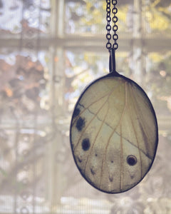 White Luminous Butterfly Wing Necklace
