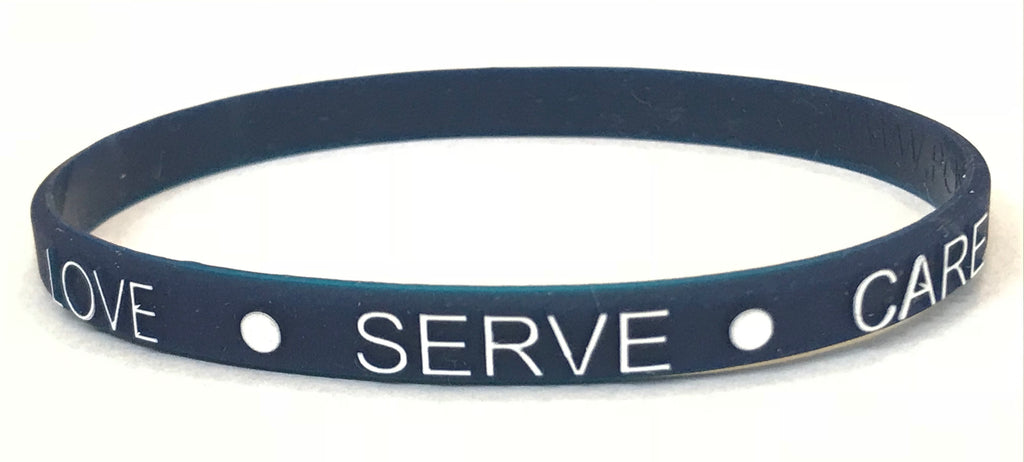 Thin Wristband - Love Serve Care (BLUE) 5 pack