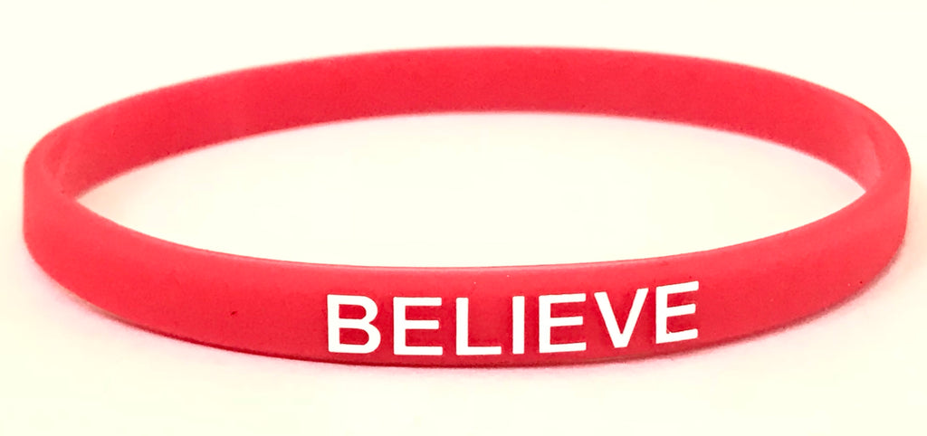 Thin Wristband - Believe (Light Red) 5 pack