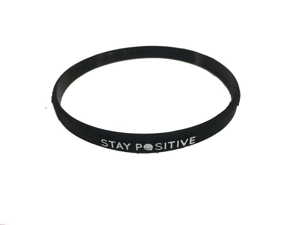 Thin Wristband Stay Positive (BLACK) 5 Pack