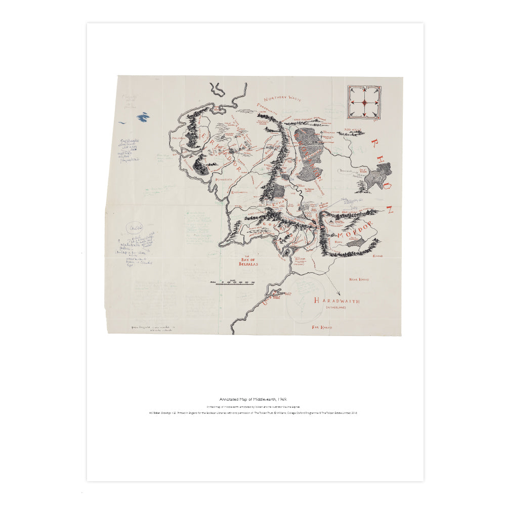 Annotated Map of Middle-earth A2 Art Print