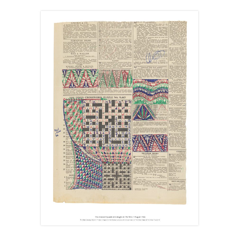 The Times Crossword Puzzle A2 Art Print Rolled