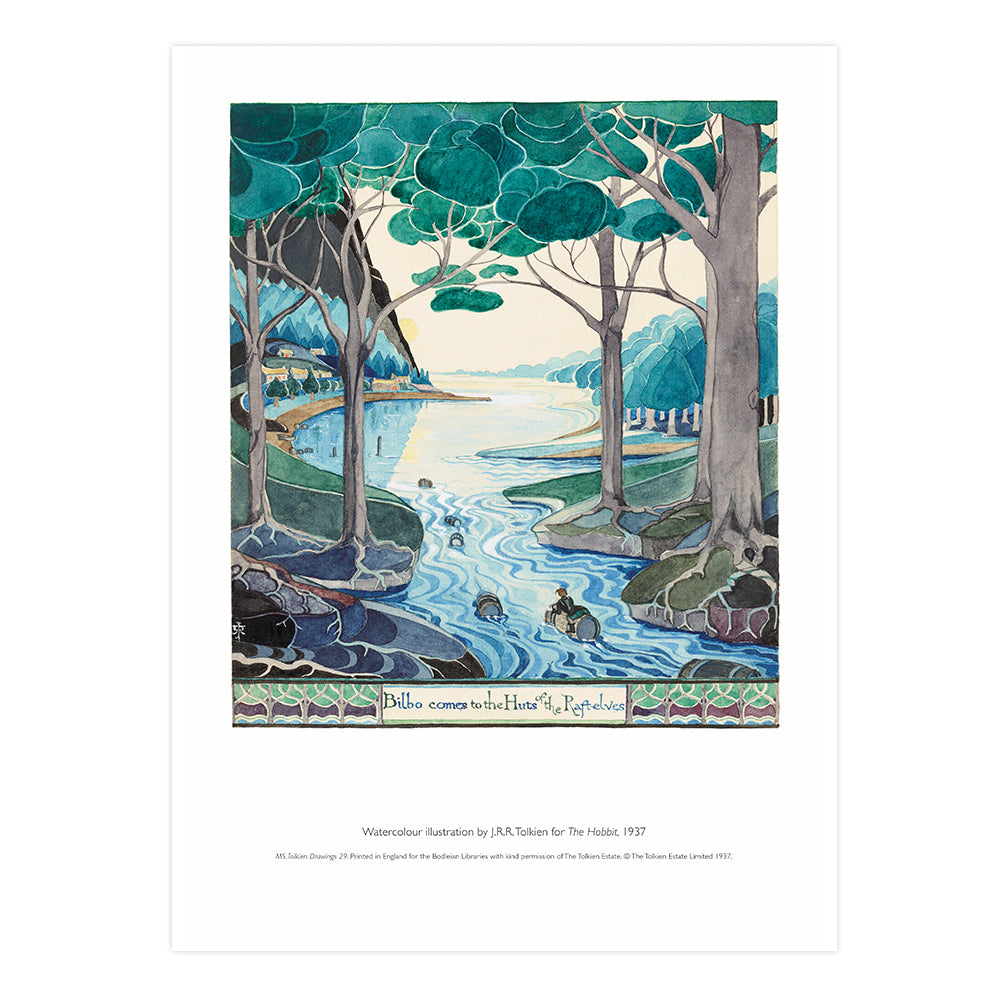 Bilbo comes to the Huts of the Raft-elves A3 Art Flat Print
