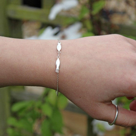Silver Bracelet with Fish Charms
