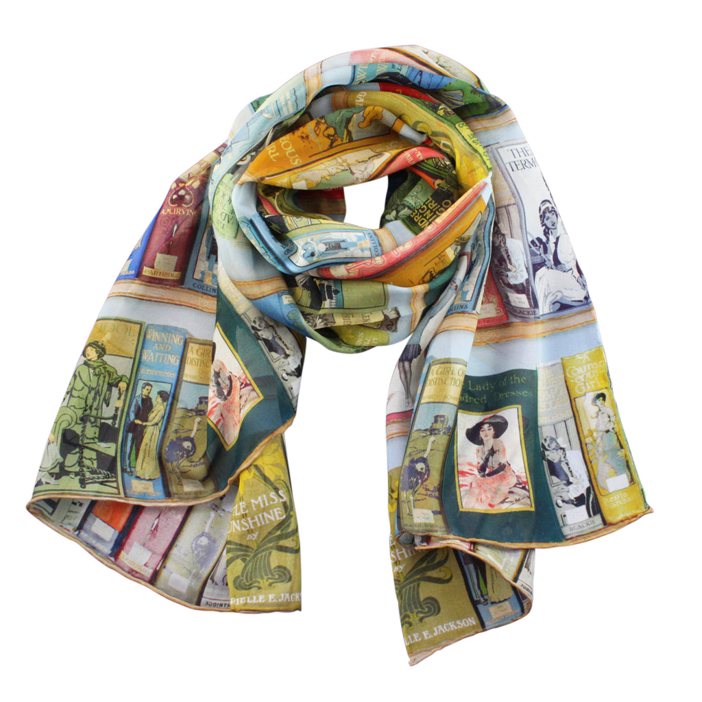 Bookshelves Silk Chiffon Scarf