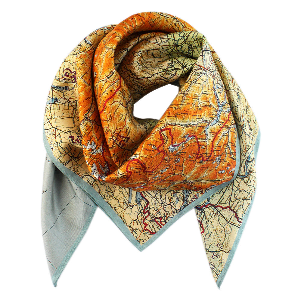 Escape Map Silk Scarf
