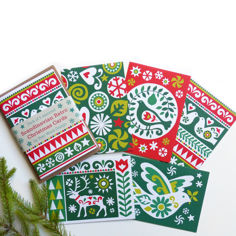 Scandi Retro Christmas Card - Pack of 5