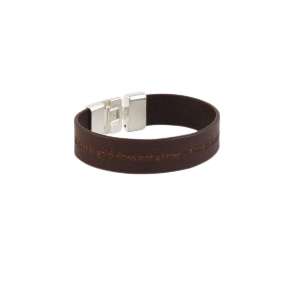"""All that is gold…"" Leather Quote Bracelet"