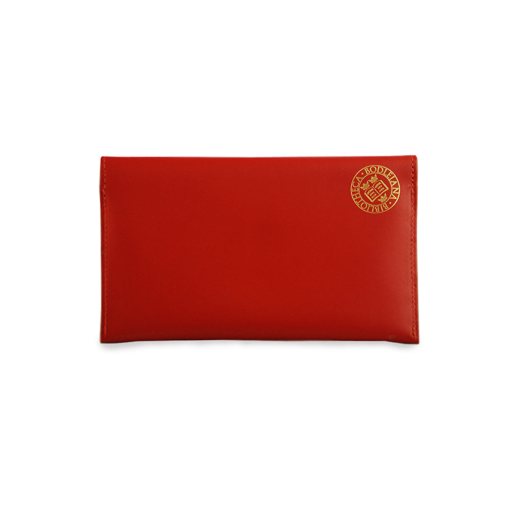 Library Stamp Leather Receipts Envelope - Red