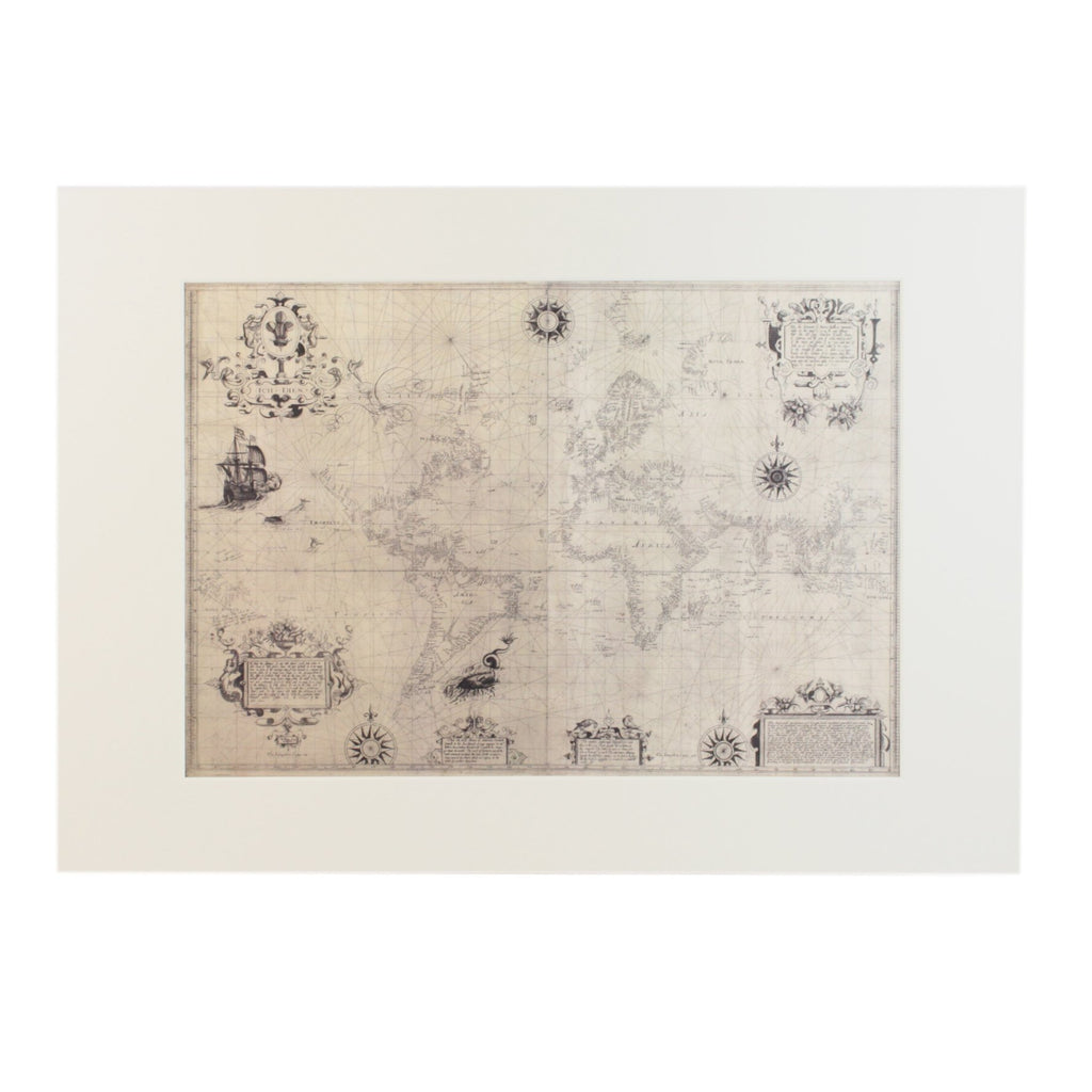 Chart of the World 1599 A3 Mounted Print