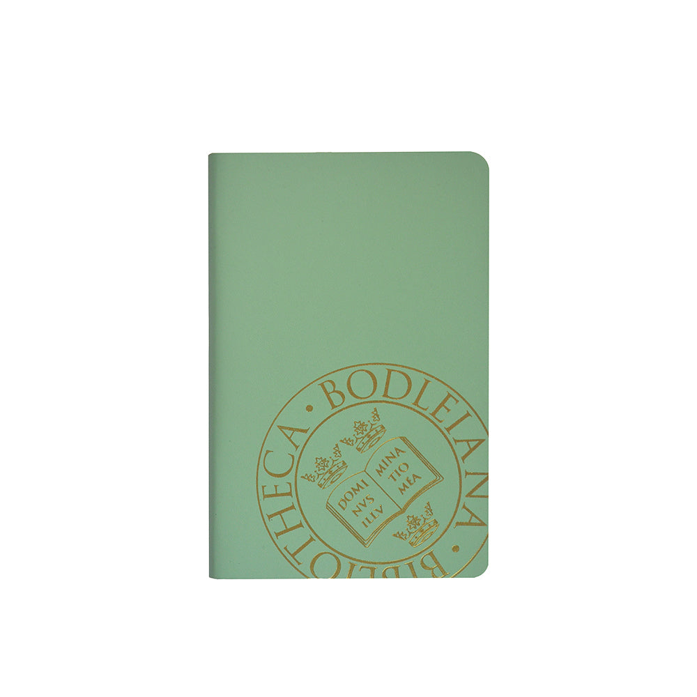 Library Stamp Leather Pocket Notebook - Peppermint