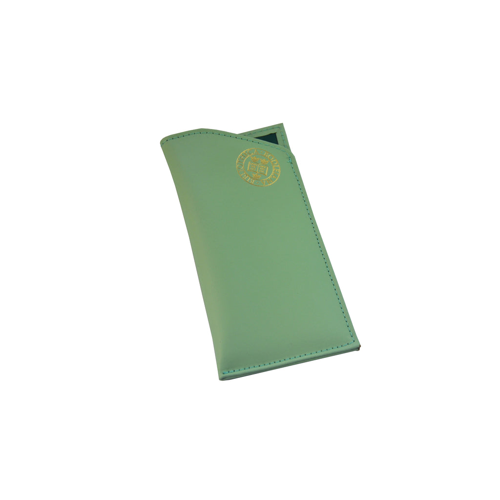 Library Stamp Leather Glasses Case - Peppermint