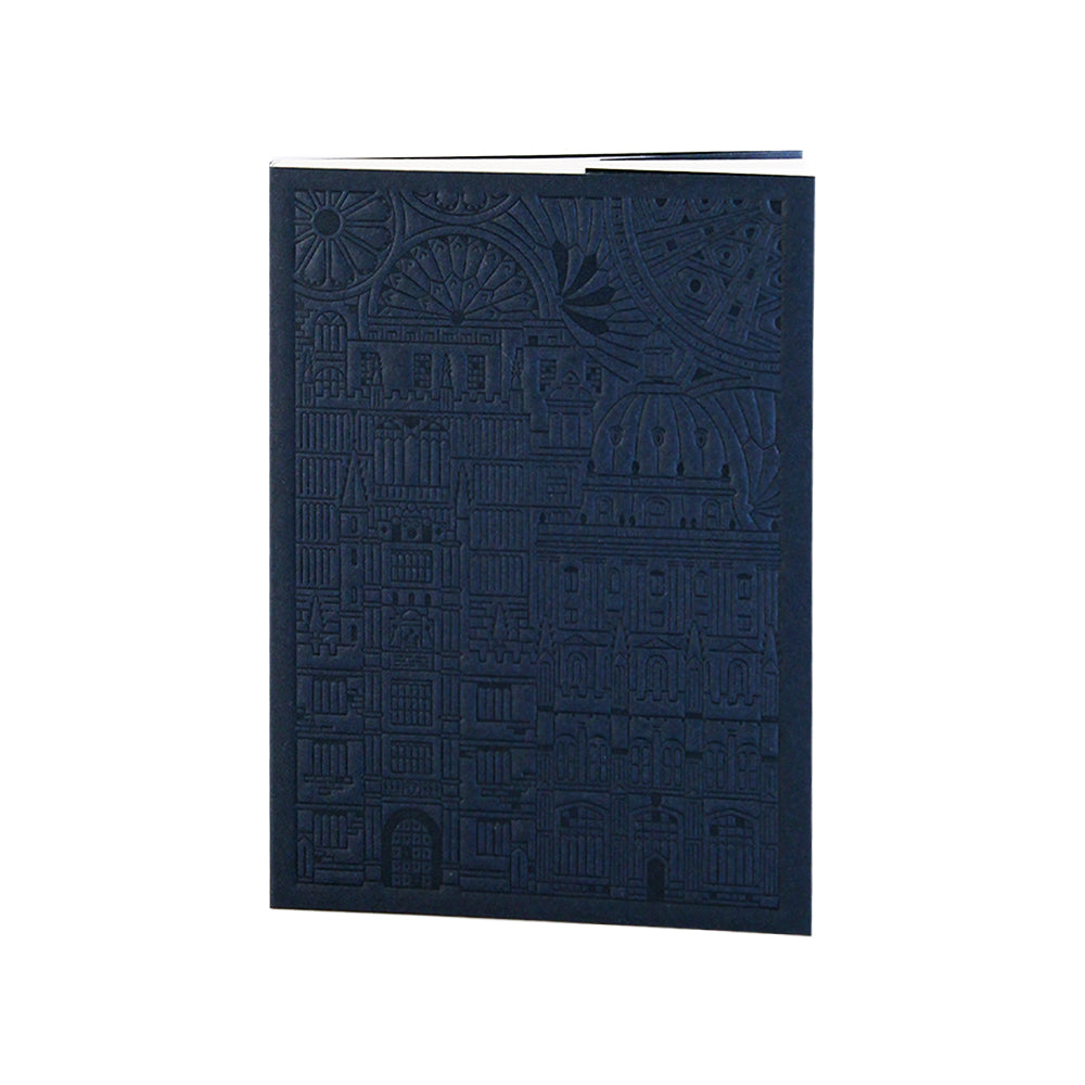 Bodleian Illustration Navy A6 Debossed Notebook