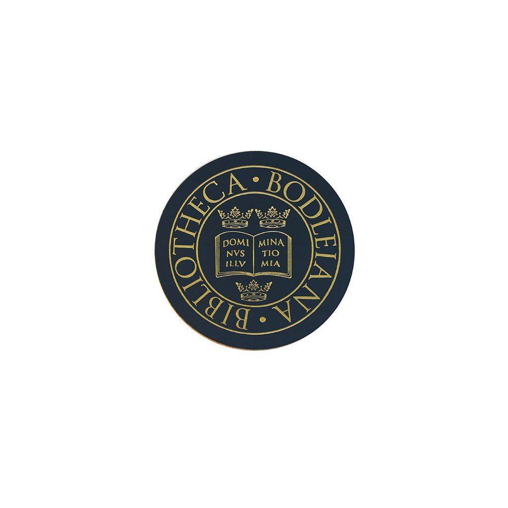 Library Stamp Leather Coaster - Navy